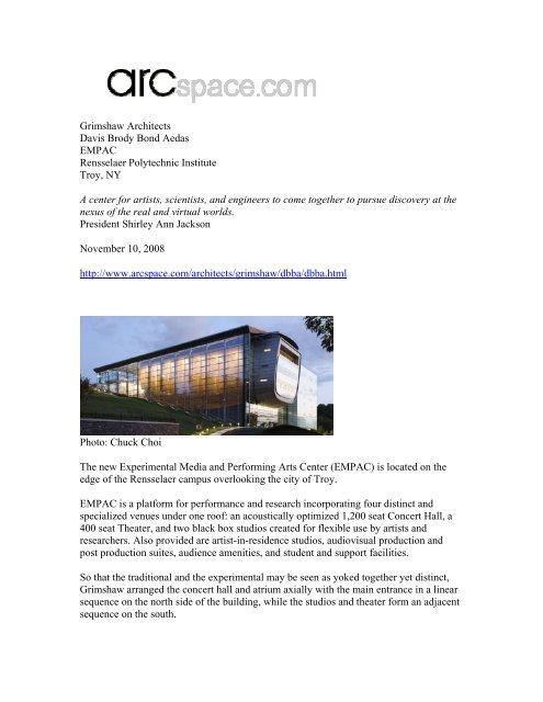 Grimshaw Architects Davis Brody Bond Aedas EMPAC     - Awin net