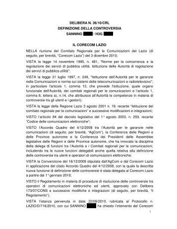 DELIBERA N. 36/10/CRL DEFINIZIONE DELLA ... - Corecom Lazio