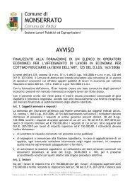 Formazione Elenchi Operatori Economici - Comune di Monserrato