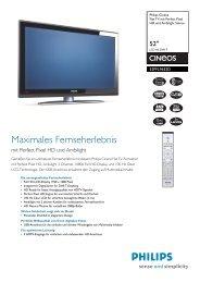 52PFL9632D/10 Philips Flat TV mit Perfect Pixel HD und Ambilight ...