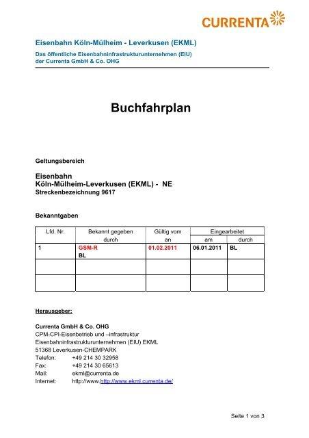 Buchfahrplan - Currenta