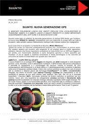 SUUNTO: NUOVA GENERAZIONE GPS - GM Comunicazione