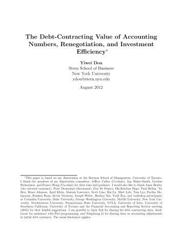 The Debt-Contracting Value of Accounting Numbers, Renegotiation ...