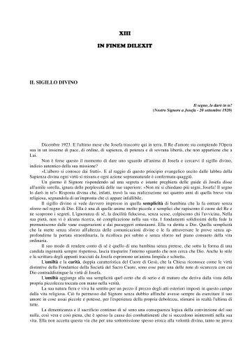 XIII. Capitolo - IN FINEM DILEXIT - Oeuvre du Sacré-Coeur