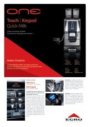 Touch   Keypad Quick-Milk - Egro Coffee Systems AG