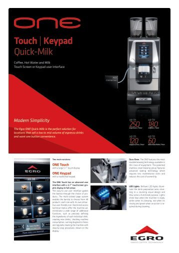 Touch | Keypad Quick-Milk - Egro Coffee Systems AG