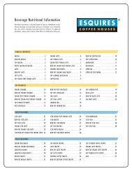 Beverage Nutritional Information - Esquires Coffee Houses