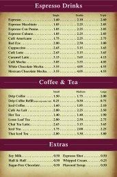 complete drink menu - Portfolio Coffeehouse