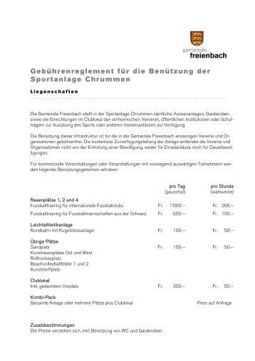 Gebührenreglement Sportanlage Chrummen - Gemeinde Freienbach