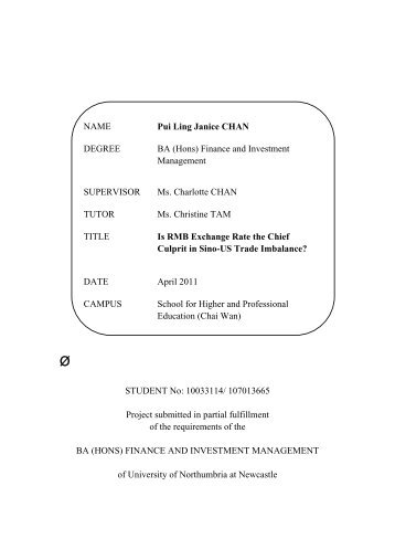 Finance and Investment Management SUPERVISOR Ms. Charlotte ...