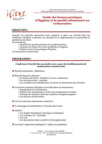 Guide des bonnes pratiques d'Hygiène et la qualité ... - IFITEL