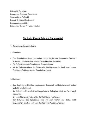 Technik: Pass / Schuss (Innenseite) - Sportmedizin - Universität ...