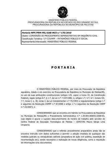 Portaria MPF/PRM-PEL/GAB-MCS n.º 170/2010 - Procuradoria da ...