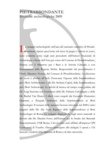 Pietrabbondante ricerche archeologiche 2009 - Istituto Nazionale di ...