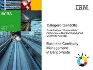 Calogero Gandolfo Business Continuity Management in ... - IBM