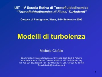 Modelli di turbolenza - Ingegneria Nucleare - Università di Palermo