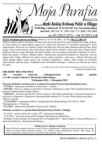 MOJA PARAFIA nr 45/2012 - katolicka, pw Matki Boskiej Królowej ...