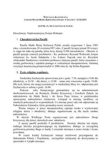 Sprawozdanie z Wizyty Kanonicznej (kliknij tutaj) - Parafia Matki ...