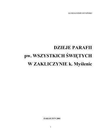 Dzieje parafii pw. Wszystkich Świętych w Zakliczynie - Parafia p.w. ...