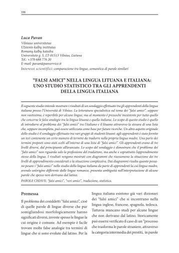 """falsi amici"" nella lingua lituana e italiana - Vilniaus universiteto ..."