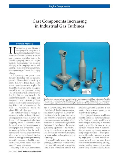 Cast Components Increasing in Industrial Gas Turbines - Alcoa