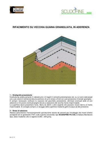 rifacimento su vecchia membrana bituminosa granigliata- incollato