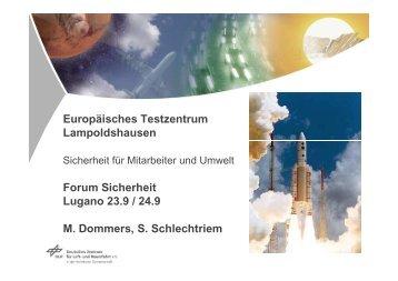 Europäisches Testzentrum Lampoldshausen Forum ... - VBSF