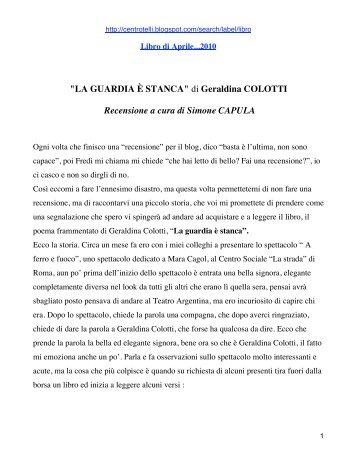 """""""LA GUARDIA È STANCA"""" di Geraldina COLOTTI Recensione a ..."""