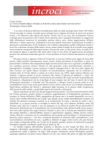 Cesare Viviani LA VOCE INIMITABILE. POESIA E ... - Adda Editore