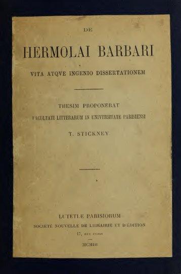 De Hermolai Barbari vita atque ingenio dossertationem