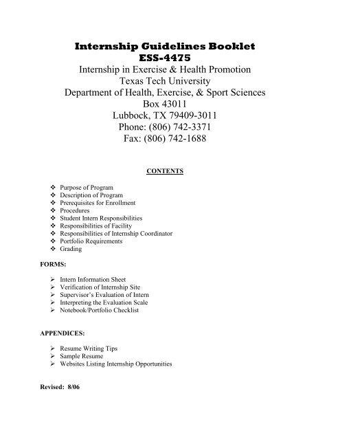 Internship Guidelines Booklet - Texas Tech University