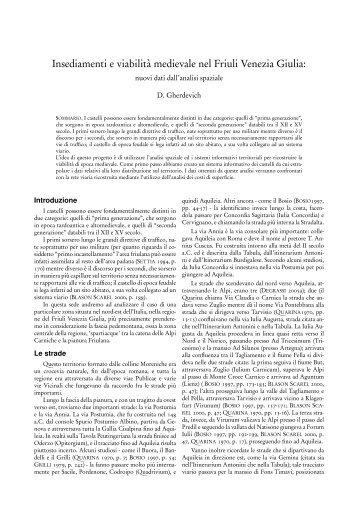 Insediamenti e viabilità medievale nel Friuli Venezia Giulia: