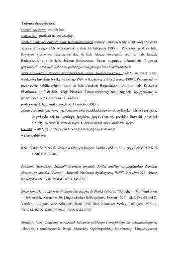 Tadeusz Szczerbowski stopień naukowy: prof. dr hab. stanowisko ...