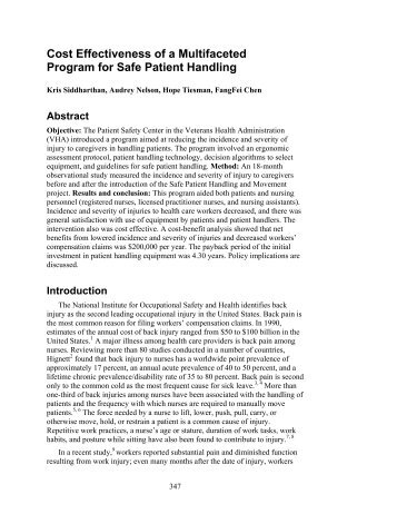 Cost Effectiveness of a Multifaceted Program for Safe Patient Handling