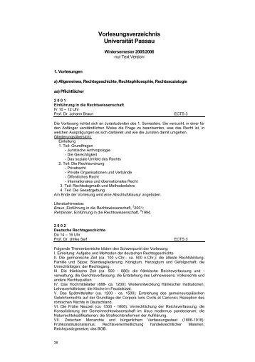 Vorlesungsverzeichnis Universität Passau - Juristische Fakultät der ...