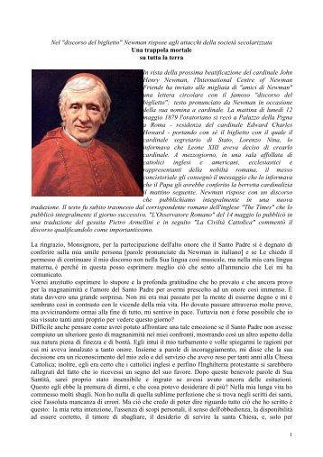discorso del biglietto - Confederazione dell'Oratorio di San Filippo Neri