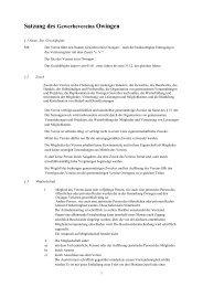 Satzung des Gewerbevereins Owingen - Gewerbeverein-Owingen