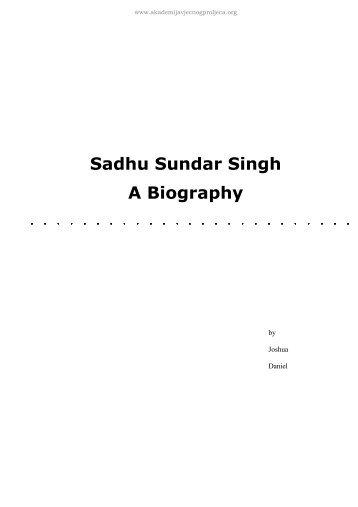 Sadhu Sundar Singh A Biography