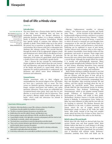 Viewpoint End-of-life: a Hindu view - Child Family Health International