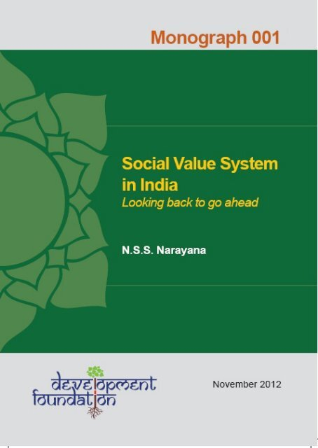 Social Value System in India: Looking back to go ahead - Devf org
