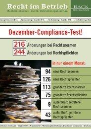 Compliance-Test Dezember 2012 - RACK rechtsanwaelte