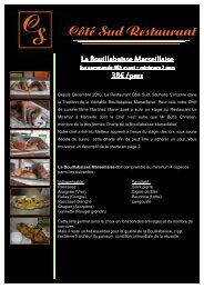 Menu Site internet - Bouillabaisse Marseillaise - Restaurant Coté Sud