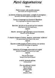 Menù degustazione - Ristorante Bovio