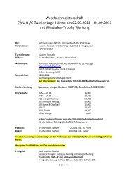 Westfalenmeisterschaft EWU B-/C-Turnier Lage-Hörste am 02.09.2011