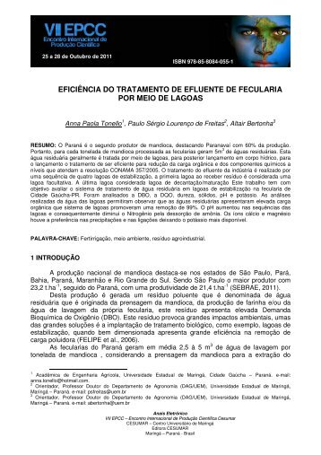 eficiência do tratamento de efluente de fecularia por ... - Cesumar