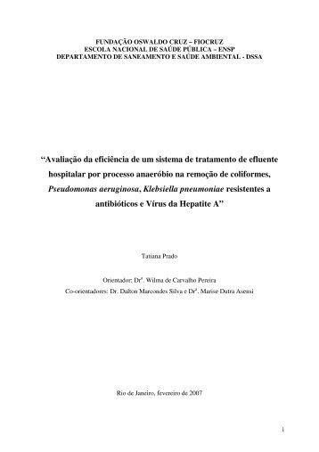 """""""Avaliação da eficiência de um sistema de tratamento de efluente ..."""
