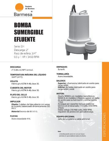 Ficha tecnica bomba sumergible efluente barnes EH - Atb.com.mx