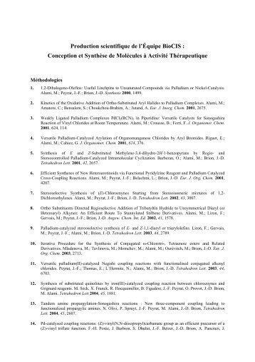 Conception et Synthèse de Molécules à Activité ... - BioCIS