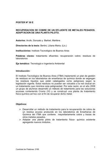 POSTER Nº 30 E RECUPERACION DE COBRE DE UN EFLUENTE ...