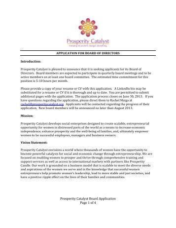 Prosperity Catalyst Board Application Page 1 of 4